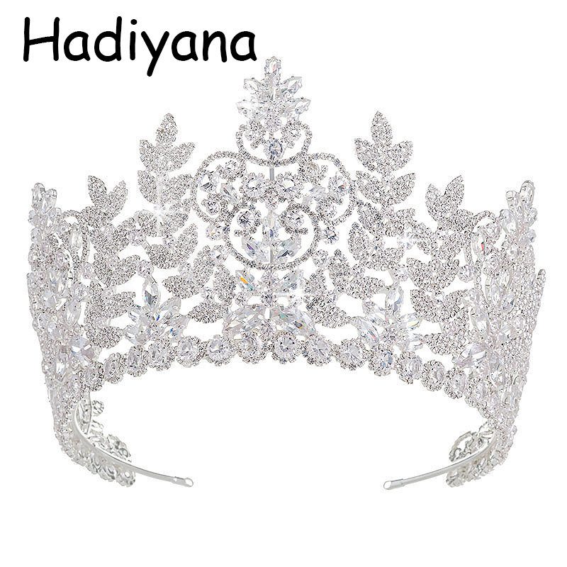 Hadiyana Bright Cubic Zircon Leaf Tiara Copper Crown Micro Pave CZ Bride Wedding Hair Jewelry Diadem Mariage Bijou Crowns HG6038 new zircon bracelets men jewelry cubic micro pave cz crown charm