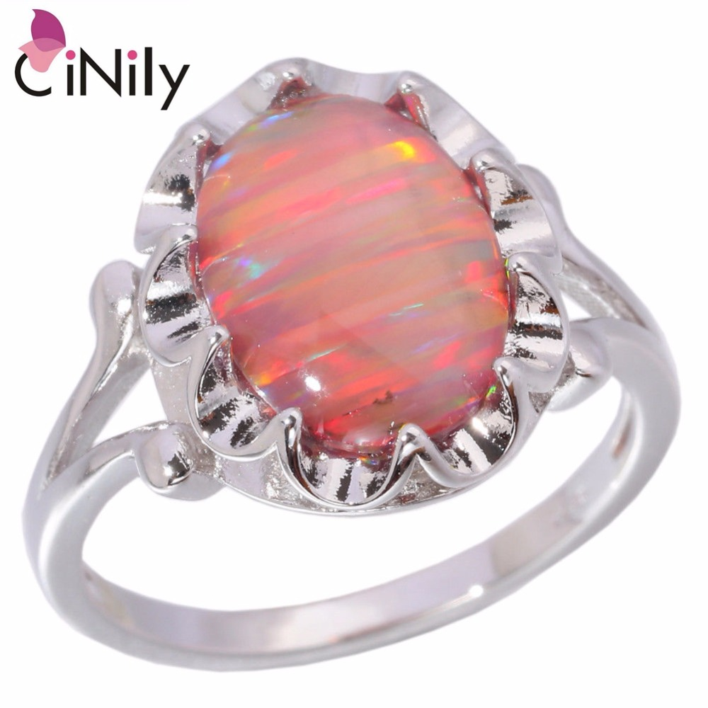 CiNily Created Orange Fire Opal Silver Plated Wholesale Hot Sell Wedding Party for Women Jewelry Ring Size 5-11 OJ6116