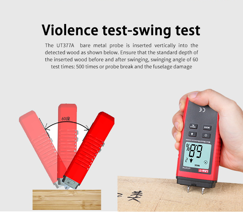UNI T UT377A Digital Wood Moisture Meter Used as Humidity Tester for Paper Plywood and Wooden Materials 18