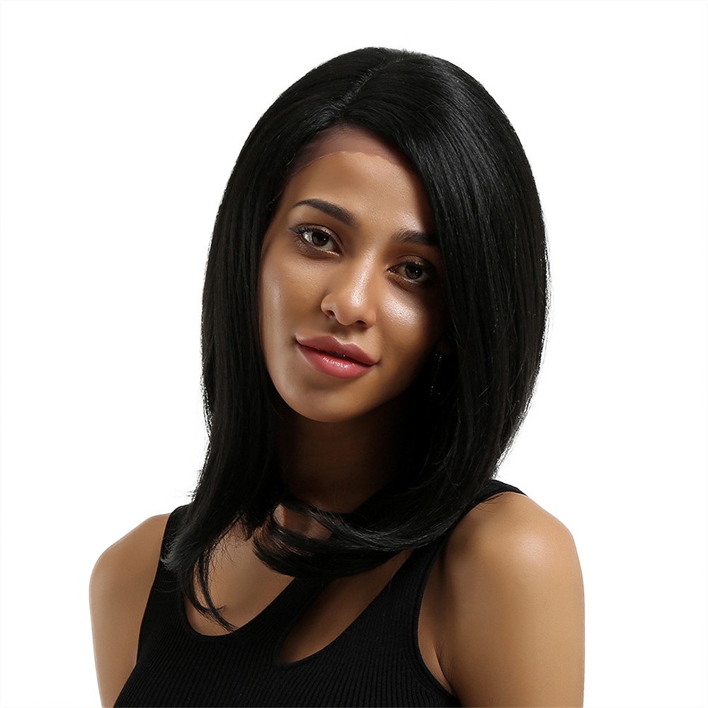 цена на New Women Black Natural Straight Hair Full Wig Hair Accessories 0720