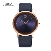 2017 IBSO Ultra Thin Dial Mens Watches Top Brand Luxury Blue Genuine Leather Strap Fashion Casual