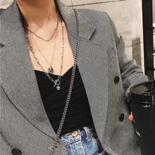 Punk Necklaces Women Multi-Layer Choker Jewelry Long Pendant Chain Necklace Collares Female Collier Hip Hop Mujer Bijoux Fashion цена