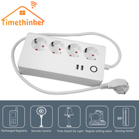 Timethinker Ewelink Wifi Switch Power Strip for Alexa Google Home Smart Home Timer Socket Automation Remote Control 2 USB Ports