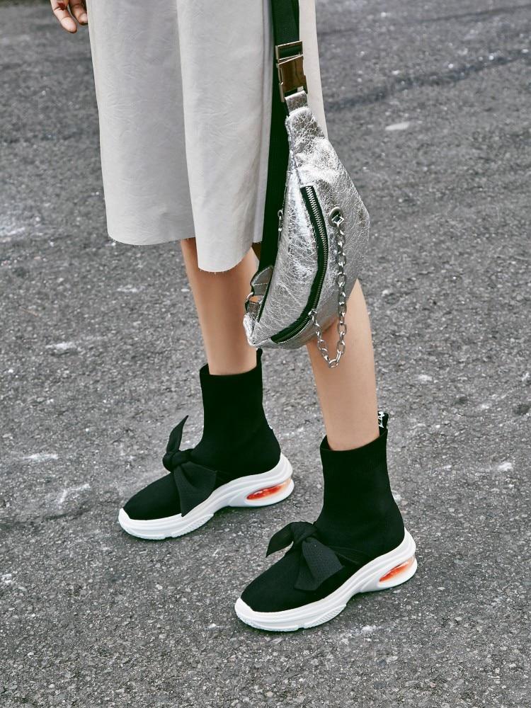 Casual As Jaune Bowtie Nouveau Chaussette Talons as Célèbre Marque Stretch Noir Hoof Sneakers 2018 Harajuku Show Bottes Vieux Tissu Fille Avec Show Chaussures wHdvqxadt