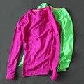 5 colores mujer de manga larga camisa shap camiseta transpirable superior de la aptitud sudor de secado rápido camisa ropa de las mujeres