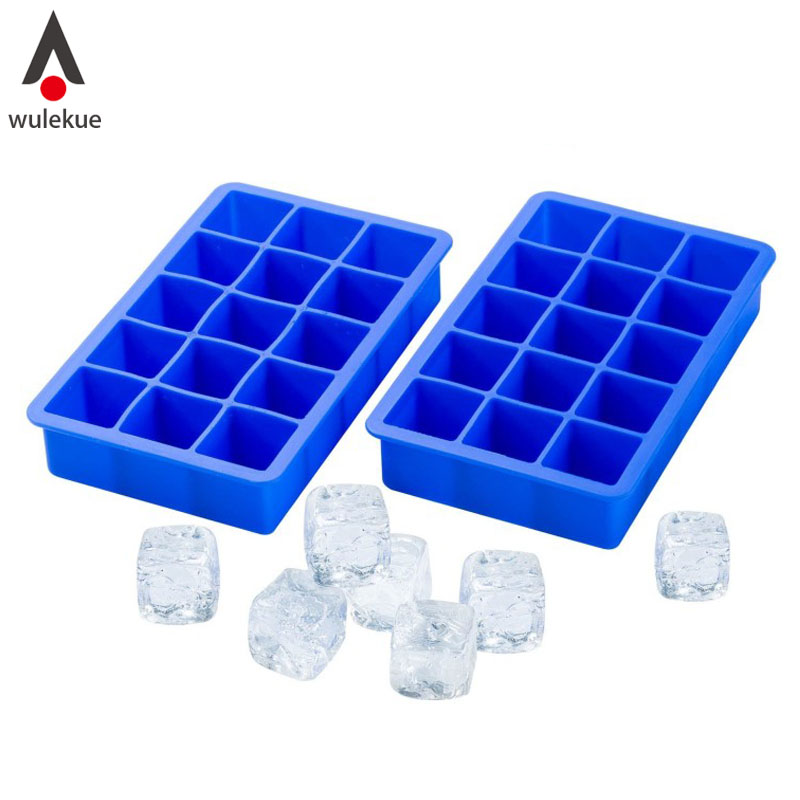Wulekue Silicone Ice Cube Tray 15 Perfect Square Ice Tray Superior Mold With Flexible Easy Release Maker Mould Color Random