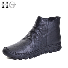 HEE GRAND PU Leather Women Boots Ankle Winter Shoes Woman Mixed Colors Casual Round Toe Slip On Flats Shoes Woman XWX5532