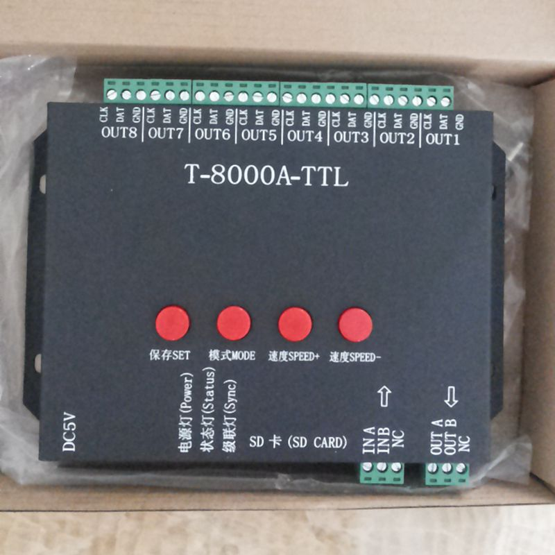 HCSOYES T8000A rgb LED Program Controller For ws2812b/WS2811/WS2813/ TM1804/LPD6803 /DMX512 Strip + Power adapter RGB 8192 Pixel