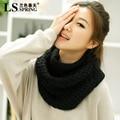 Novo conjunto cabeça cachecol gola cachecol de lã feminina inverno Coreano cachecol de inverno espessamento