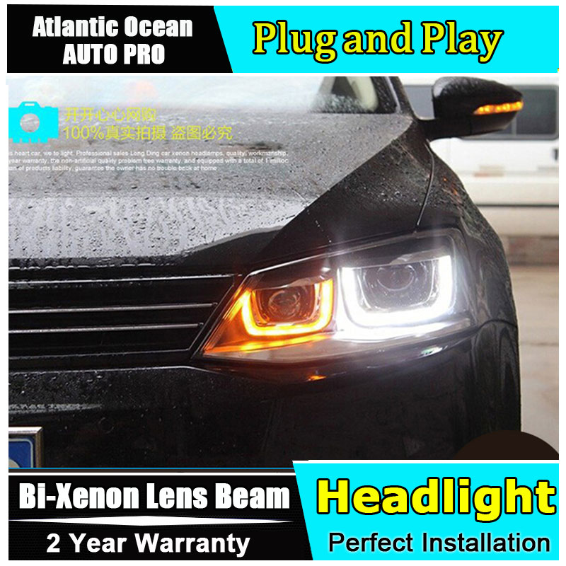 Car Styling JETTA MK6 Headlights 2011-2014 For VW JETTA LED Headlight angel eyes JETTA GLI LED drl HID KIT Bi-Xenon Lens low bea high quality hid headlights led drl angel eyes for honda cr v 2012 2014