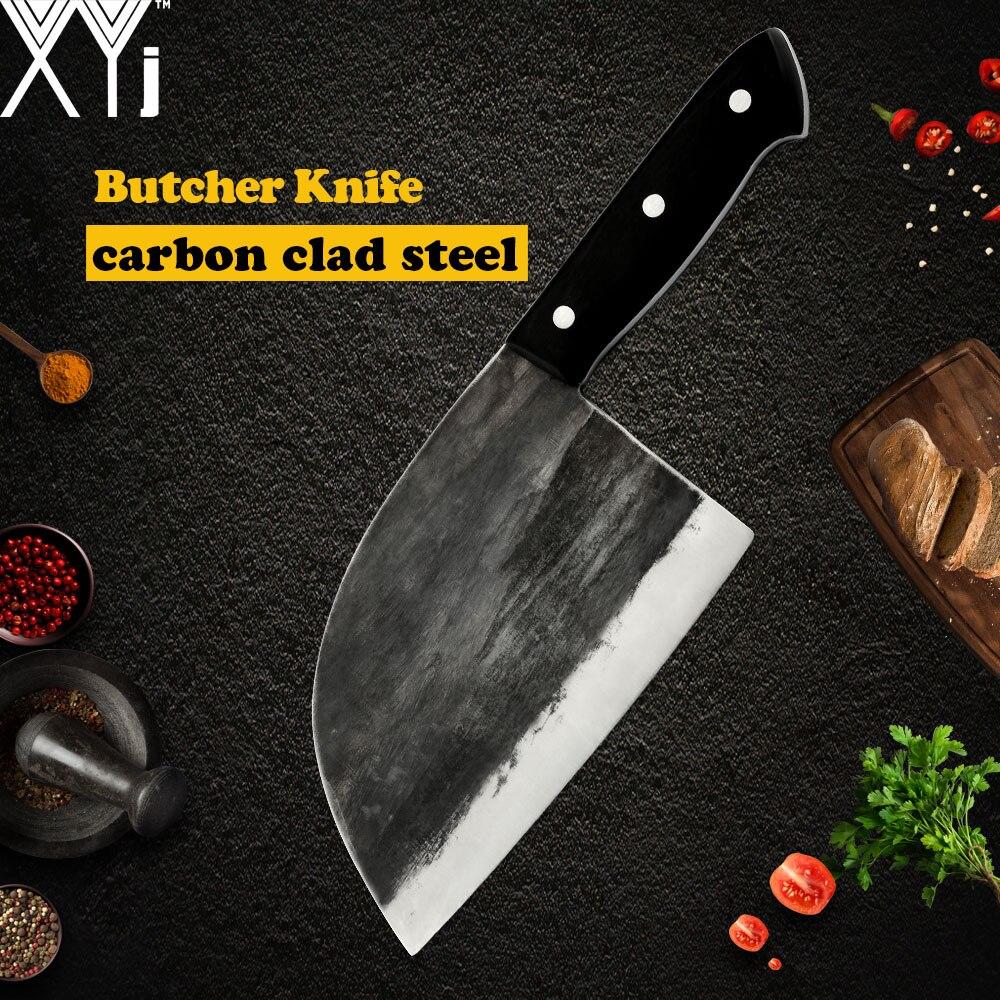 XYj couteau de boucher forgé à la main pleine Tang 5MM lame Pakawood poignée couperet couteau à découper Steak dinde os outils de cuisine