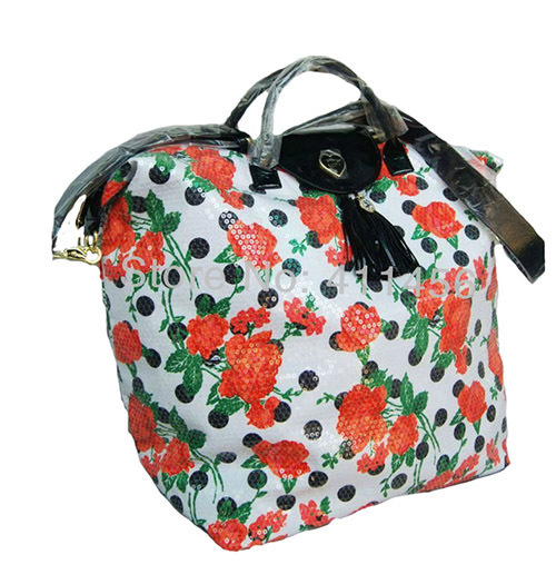 New Arrival White Mit Red Roses Black Dots Weekend Bag Women Travel Bags Carry On