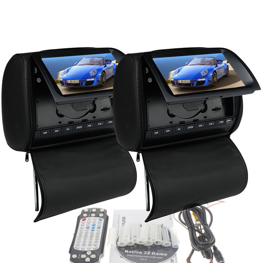 Universal 9 inch sony lens auto car headrest dvd game player monitor pillow touch screen usb sd 32 bit game fm dvd black in car multimedia player from