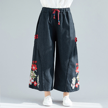 Cotton Linen Pants For Women Vintage Spring Autumn Loose Casual Floral Embroidery Ankle-Length Pants Fashion Wide Leg Pant Femme 2019 women vintage linen cotton wide leg pants casual floral embroidered elastic waist ankle length pants