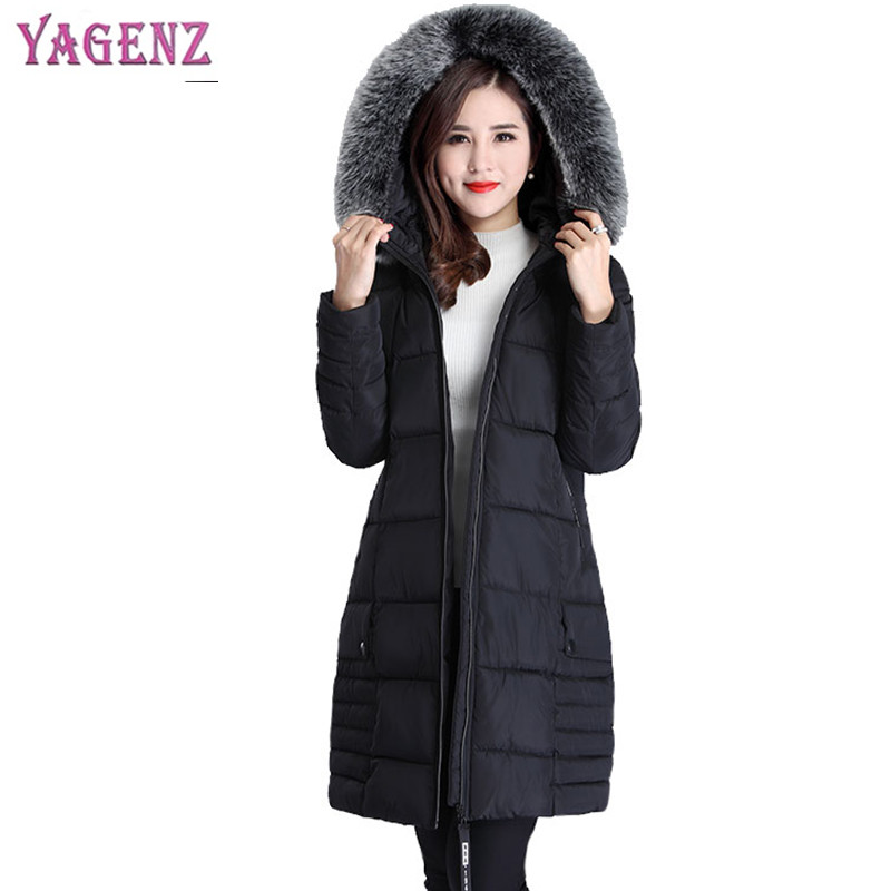 Winter Womens Feather Cotton Coat 2018 High-quality Long Section Thicken Warm Ms Outerwear Plus size Hooded Collar Overcoat B39 new high quality winter women s feather cotton long style coats fashion hooded imitation fox fur collar plus size coat okxgnz857