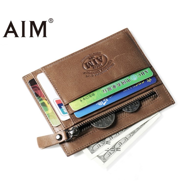 AIM Genuine Leather Men Wallets Man Famous Small Short portomonee with Coin Zipper Mini Male Purses Card Holder Walet A375 baellerry top pu leather men wallets and purses coin purse man famous small short portomonee mini male purses card holder walet