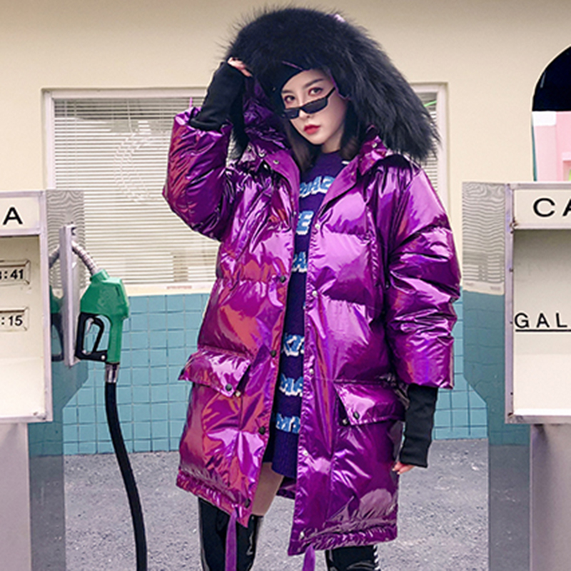 2019 Real Fur Collar Bright Hooded Winter   Down   Jacket Metal Silver Purple   Down   Jacket Female Plus Size Loose Warm   Down     Coats