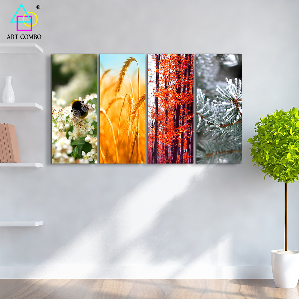 4 pieces painting on canvas 4 seasons beautiful landscape for 4 home decor