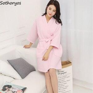 Image 4 - Женские халаты, хлопковый Повседневный халат с поясом, элегантный халат для ванной, спа, однотонное кимоно, повседневная женская одежда для сна, дышащий Халат