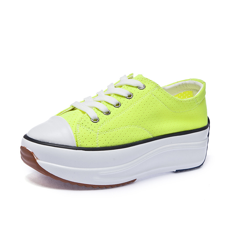 Sneakers Women White Black Sneakers Neon Yellow Green Chunky Shoes 2019 Summer Candy Colors Platform High Super Mesh Wedge Shoes