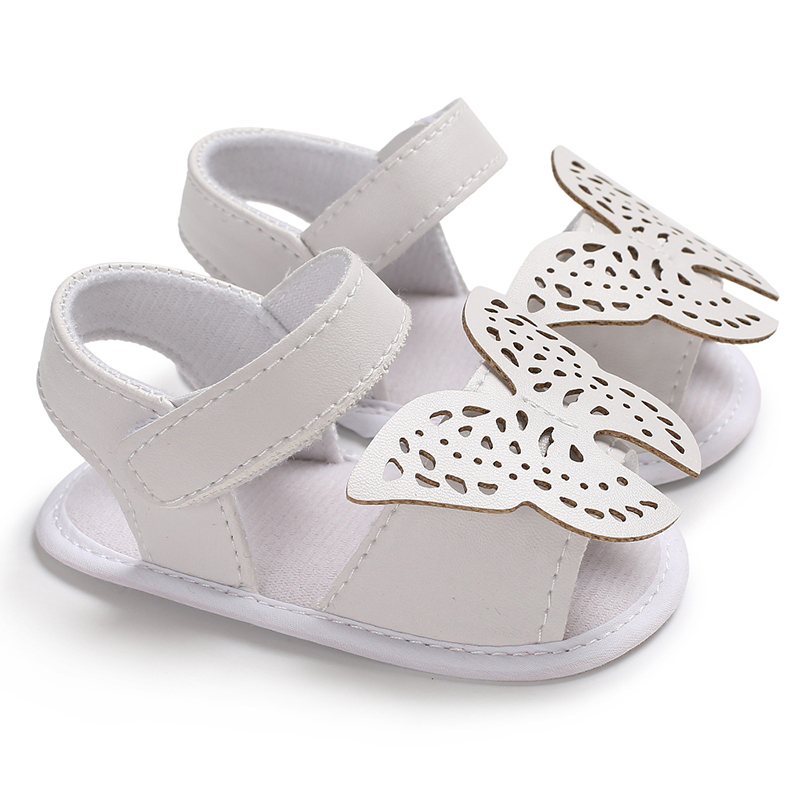 Pure White Hollow Butterfly First Walkers Hook&loop Closure Shoes For Baby Girl Newborn Toddler Moccasins Slippers Pram Sandals