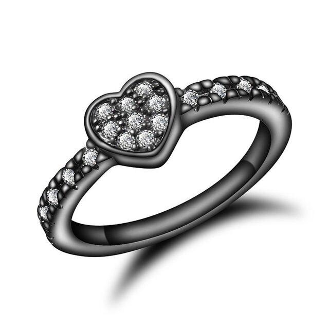 3ae9513dca44 € 3.11 20% de DESCUENTO Corazón Anillos Oro Negro anillo de ZIRCON cristal  rhinestone dedo Anillos joyería del anillo del encanto mujeres placa ...