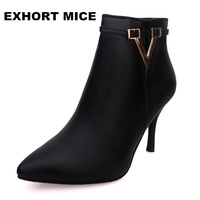 Winter Fashion Sexy Soft Toe High Heel Women S Boots Thin Heel Martin Boots Ankle Boots