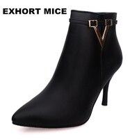 Moda inverno sensuais botas de salto Alto do dedo do pé das mulheres macio salto fino martin botas mulher ankle boots Com Zíper Além de veludo