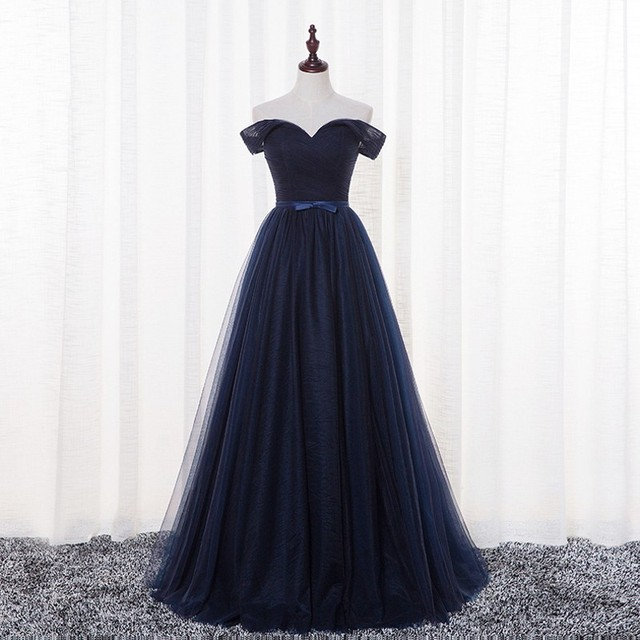 Cheap Dark Navy Boat Neck Soft Tulle Floor Length Cout Train Prom Dresses Sexy Party Gowns vestido de festa longo Fast Shipping