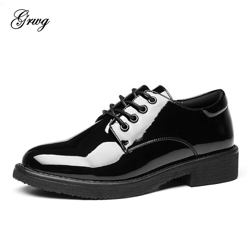 GRWG women genuine leather oxford shoes woman flats handmade vintage retro lace up loafers black casual flat shoes for women lovexss casual oxford shoes fashion metal decoration shallow shoes black purple genuine leather flats woman casual oxford shoes
