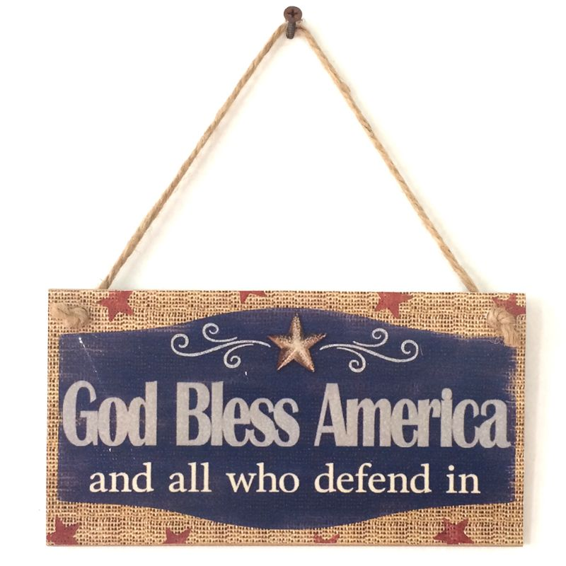 Rustic Wooden Hanging Plaque Sign Board God Bless America Room Wall Door Home Decoration Gift-in Plaques & Signs from Home & Garden
