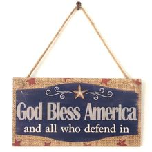 Rustic Wooden Hanging Plaque Sign Board God Bless America Room Wall Door Home Decoration Gift