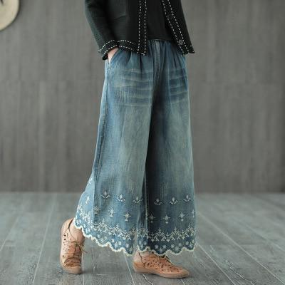Autumn New Cotton Embroidered Drawstring   Jeans   Women's Literary Versatile Retro Wide Leg Pants