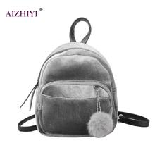 New Fashion Women Mini Velvet Backpacks Designer High Quality Casual Style Travel Backpack Fur Ball School Bag For Teenage Girls