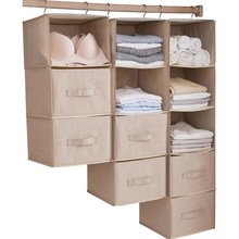 Hanging Drawer Design Cotton Line+Steel Storage Bag Durable Washable Hanging Organizer For Shirt Underwear 1pcs Wardrobe Storage