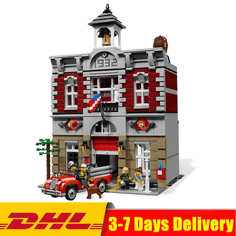 Lepin 15004 City Fire Brigade Doll House Building Kits Assembing Blocks Compatible 10197 Educational Gift Funny Toy For Children dhl lepin 15004 2313pcs city fire brigade model doll house building kits assembing blocks compatible with legoed 10197