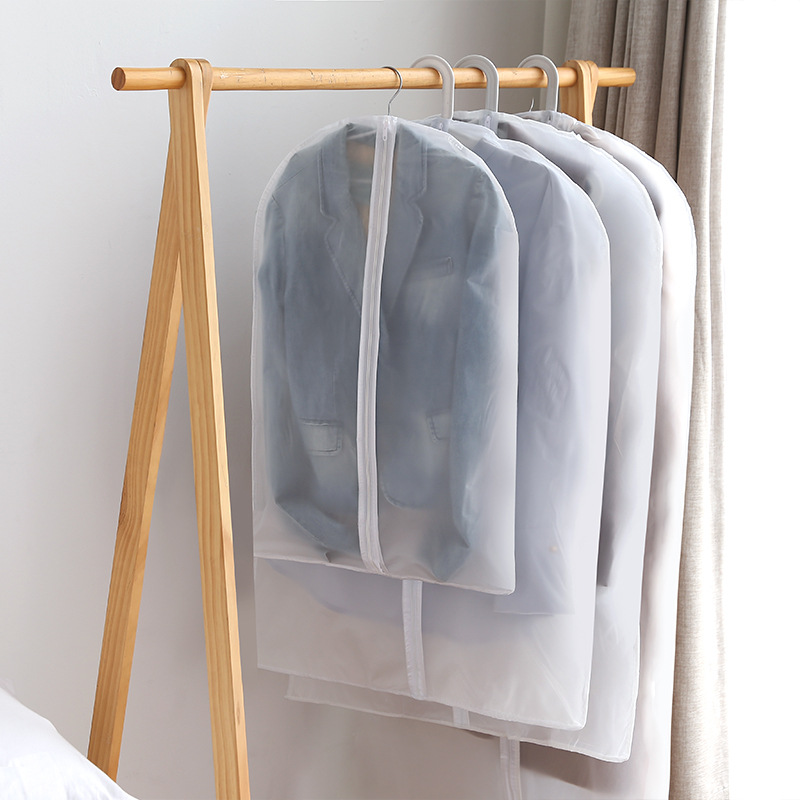 Translucent Clothing Cover Suit Blazer Coat Jacket Storage Bag Organizer Closet Hanging Pocket With Zip Overcoat Cover