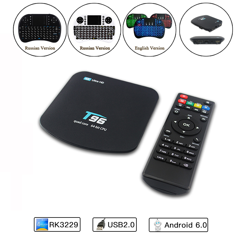 X96 4K Smart PC TV Box RK3229 With 1G 8G WiFi 4K HD 64-bit Quad Core Android 6.0