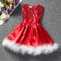 2016 Lentejuelas Vestido de La Muchacha de Europa y América Estilo de la Pluma Muchachas de la Navidad Vestido de Princesa Kids Navidad Tutu Vestido Sin Mangas Rojo