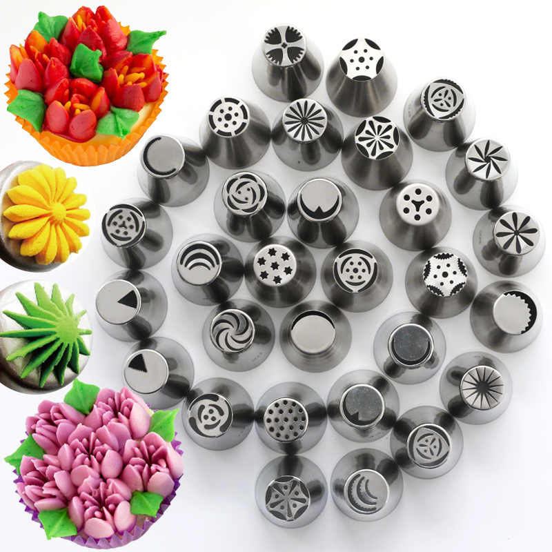 28 Style Large Russian Piping Tips Stainless Steel Russia Pastry Tube Food Grade 3-Color Russian Nozzle Converters Baking Tools
