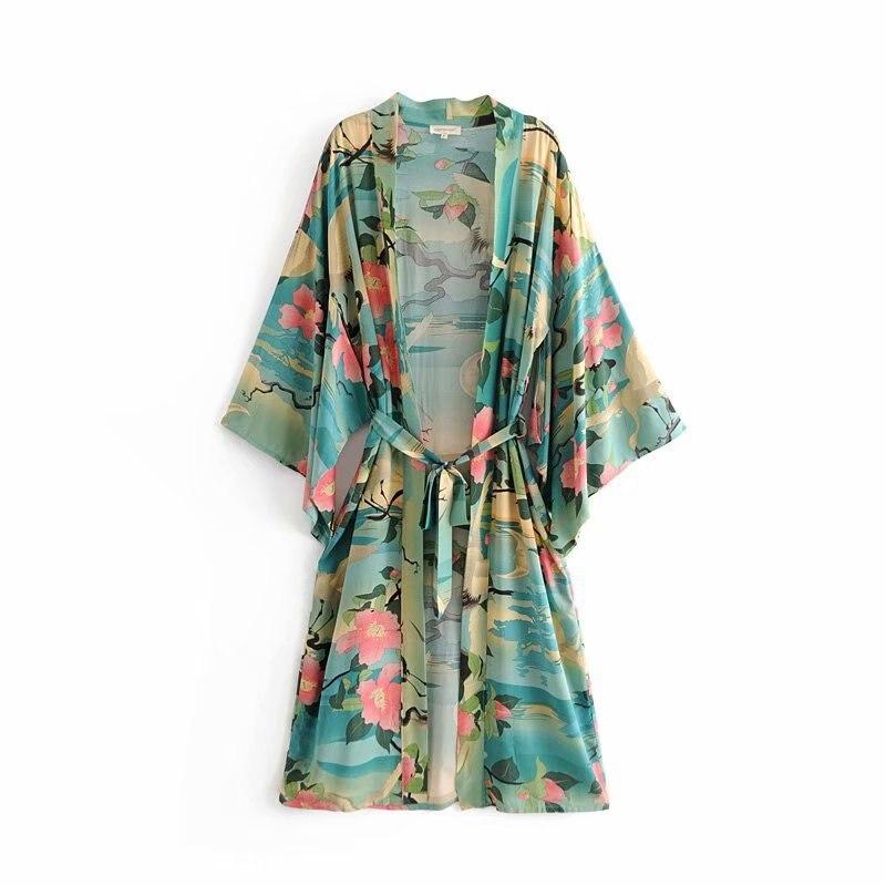 Jackets & Coats Hot Sale Djf48-8222 European And American Fashion Orientation Printed Long Kimono