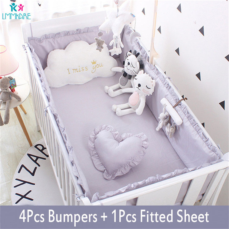 5Pcs Baby Breathable Crib Bumper Pad Oval Bed Crib Liner Set for Baby Boys Girls Safe Bumper Guards Crib Rail Padding Grey White in Bedding Sets from Mother Kids