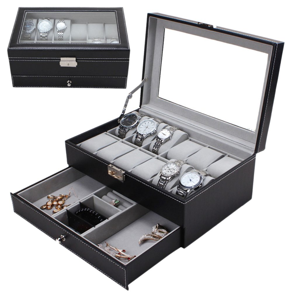 Watch Jewelry Case Holder Black Brown Casket Box Professional 12 Grids Slots Watches Packaging Storage PU Leather Double Layers
