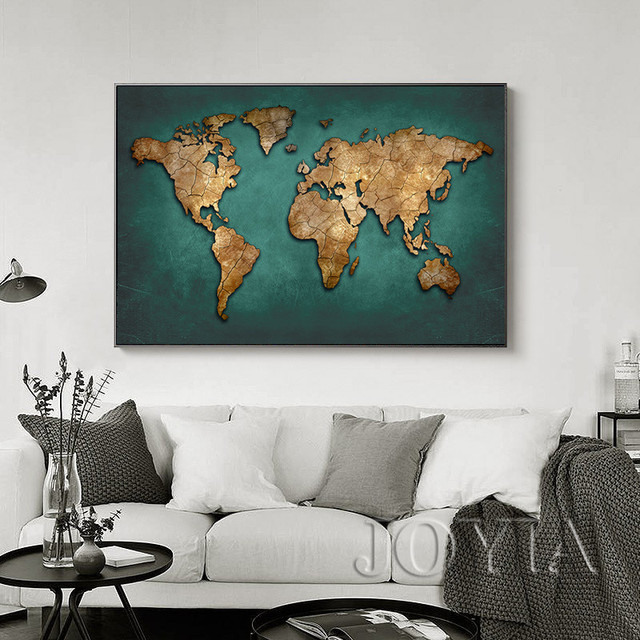 Large World Map Canvas Art Abstract Vintage Dark Green Maps Wall ...