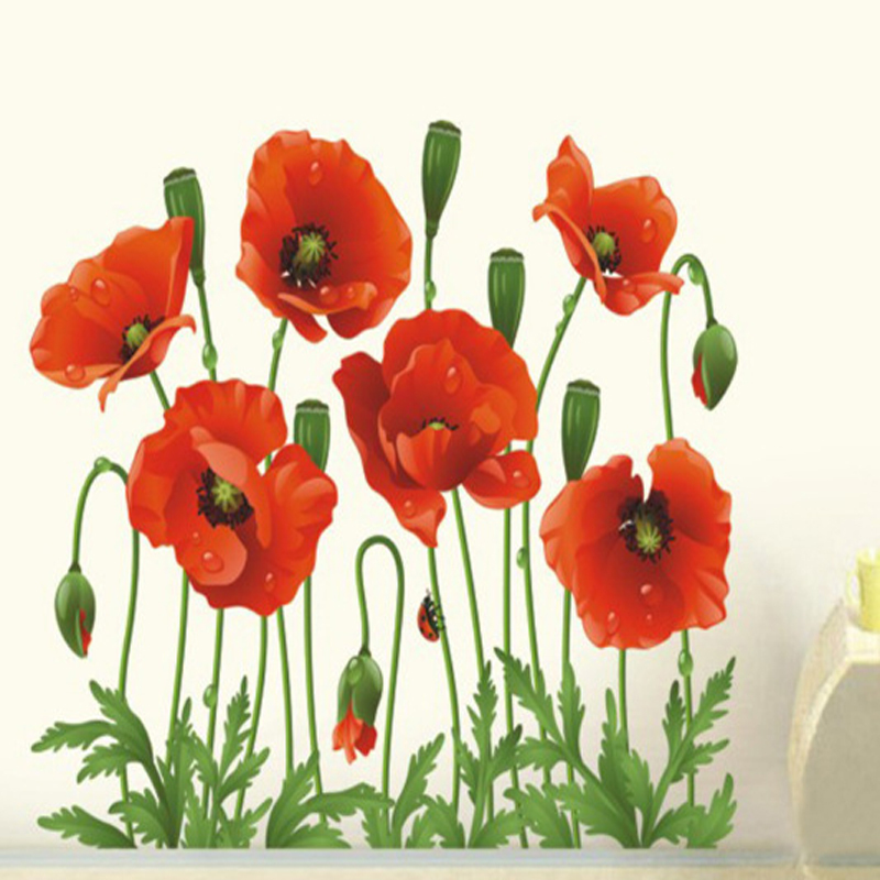 Aliexpress Buy New Red Poppy Removable Wall Stickers Home