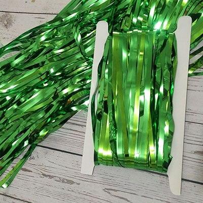 2 м 3 м 4 М Металлическая бахрома из фольги мерцающий фон свадебная вечеринка украшение стены фото стенд фон мишура блестящие занавески золото - Цвет: mirror green