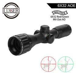 LUGER WALTHER 6x32 AO Mini Mil-Dot Çift Renkli Işıklı Reticle Avcılık Tüfek Taktik Optik Sight Tüfek airScope