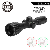 LUGER WALTHER 6x32 AO Mini Mil Dot Double Color Illuminated Reticle Hunting Riflescope Tactical Optical Sight Rifle AirScope
