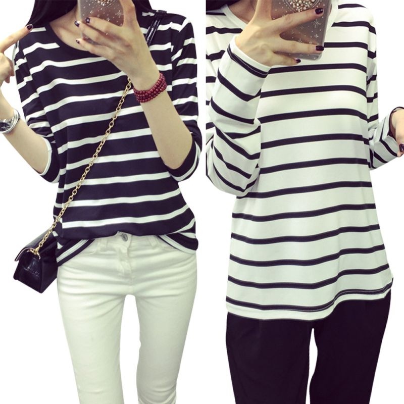 Hot Sale Women Black White Striped Casual Cotton Slim Long Sleeve T Shirt  Tops 90812a607