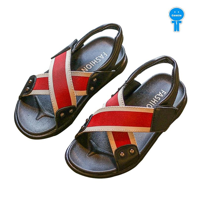 Summer red white black crop tape baby boys sandals kid beach shoes children fashion shoes 16.5-19cm